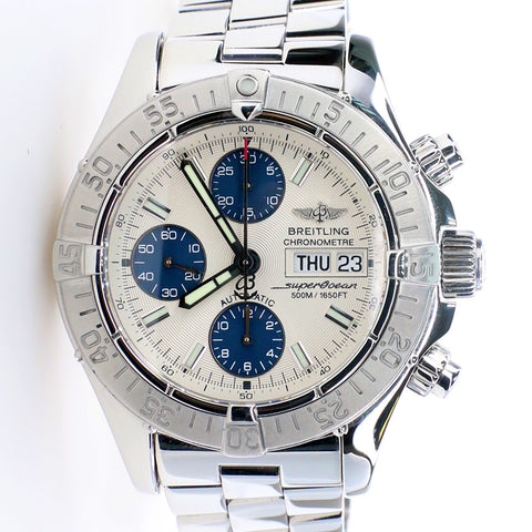 Breitling Chronometre Superocean 42MM Day Date Steel Watch with Silver Dial  A13340