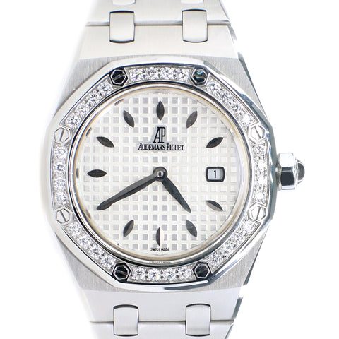 Audemars Piguet Lady Royal Oak 33mm Factory Diamond Bezel/Silver-toned Dial/Stainless Steel Watch/Box Papers