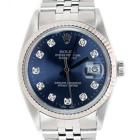 Rolex Datejust 36mm  White Gold Fluted Bezel/Blue Diamond Dial Steel Jubilee Watch