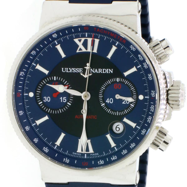 Ulysse Nardin Maxi Marine Blue Chronograph Watch 353-66-3/323 w/Box&Papers