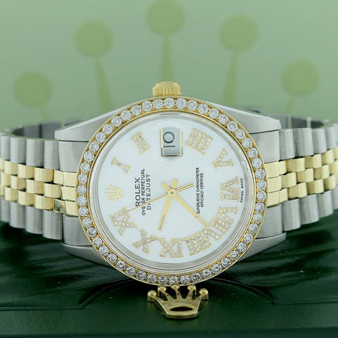 Rolex Datejust 2-Tone 18K Gold/SS 36mm Automatic Jubilee Watch w/MOP Roman Diamond Dial & 1.85Ct Bezel