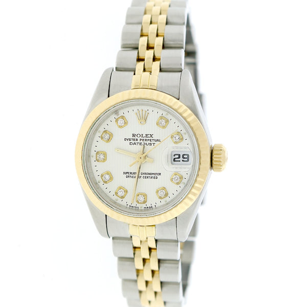 Rolex Datejust Ladies 2-Tone 18K Gold/Stainless Steel Gold Fluted Bezel 26mm Jubilee Watch w/Diamond Dial