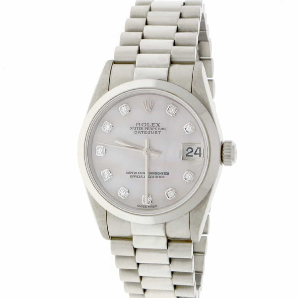 Rolex President Datejust Midsize Platinum Original MOP Diamond Dial 31MM Automatic Watch 78246