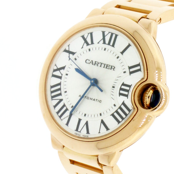 Cartier Ballon Bleu Midsize 18K Pink Gold 36MM Automatic Watch W69004Z2 w/Box&Papers