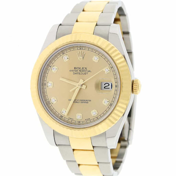 Rolex Datejust II 2-Tone18K Yellow Gold & Stainless Steel Original Champagne Diamond Dial 41MM Automatic Mens Oyster Watch 116333
