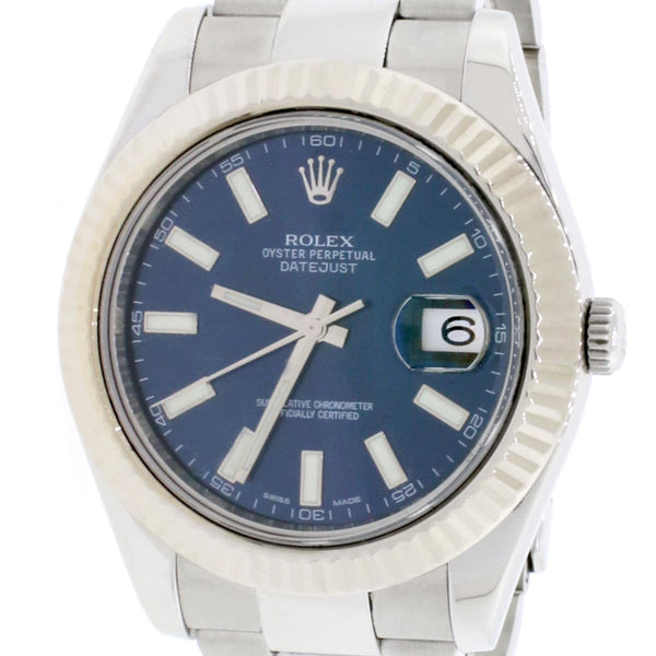 Rolex Datejust II 18K White Gold Stainless Steel 41MM Automatic Mens Watch 116334