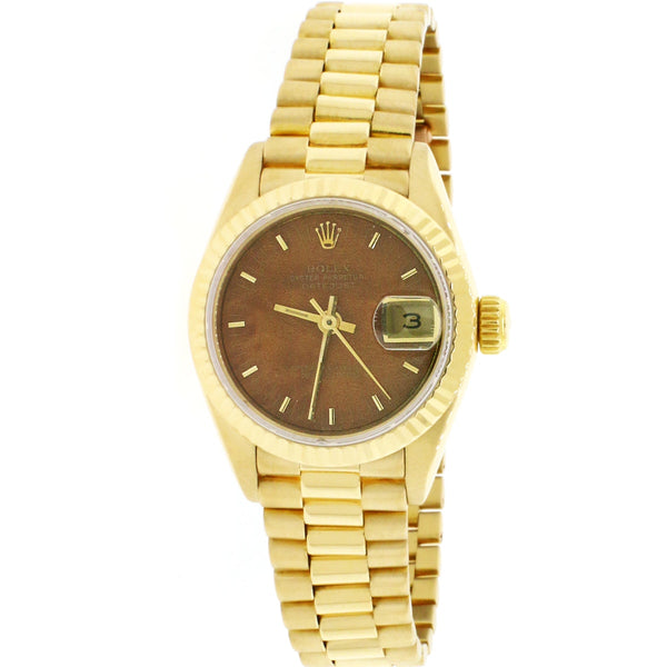 Rolex President Datejust Ladies 18K Yellow Gold 26MM Original Wood Dial Automatic Watch 69178 w/ Box Papers