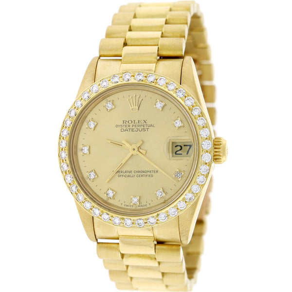 Rolex President Datejust Midsize 18K Yellow Gold Original Champagne Diamond Dial 31MM Automatic Watch 68278 w/Diamond Bezel