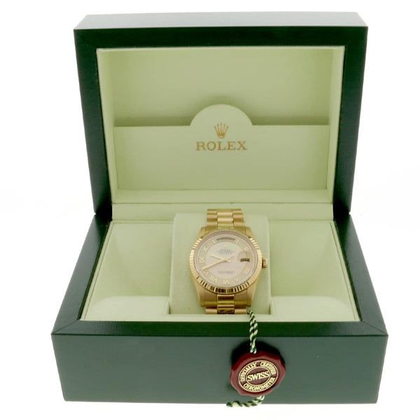 Rolex President Day-Date 18K Yellow Gold Factory MOP Roman Dial 36MM Automatic Mens Watch 118238