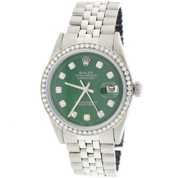 Rolex Datejust 36MM Automatic Stainless Steel Jubilee Mens Watch w/Forest Green Diamond Dial & Bezel