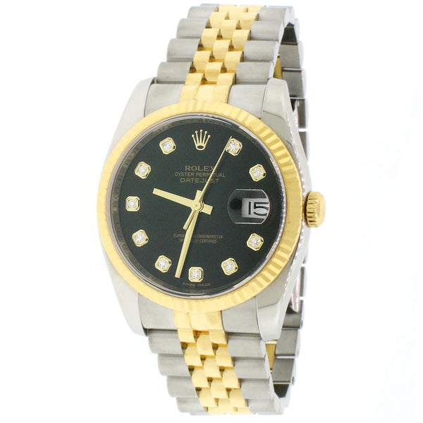 Rolex Datejust 2-Tone Yellow Gold/Steel Jubilee Factory Black Diamond Dial 36MM Automatic Mens Watch 116233
