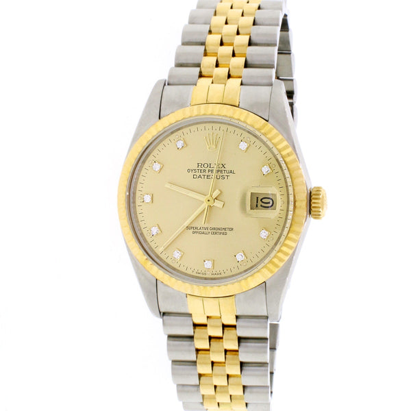 Rolex Datejust 2-Tone 18K Yellow Gold & Stainless Steel Factory Champagne Diamond Dial 36MM Automatic Mens Jubilee Watch 16013