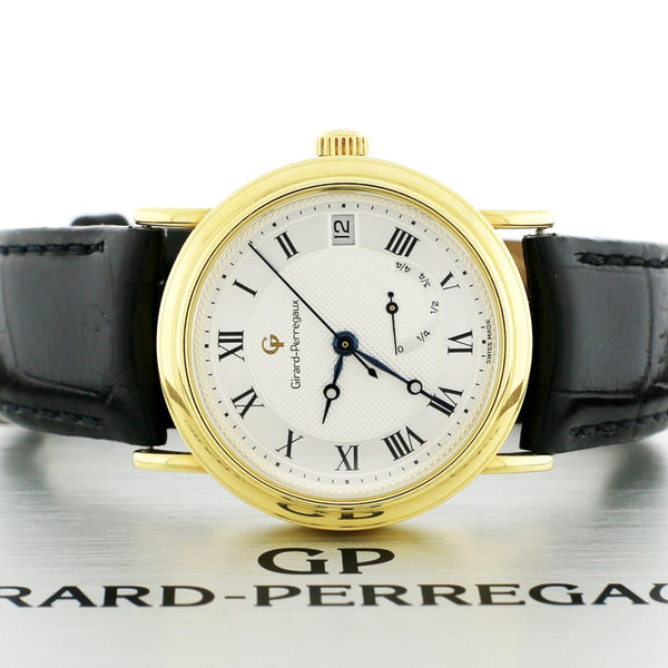 Girard Perregaux 18K Yellow Gold 34MM Factory Roman Dial Power Reserve Automatic Watch 4795
