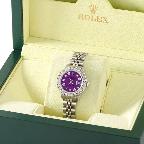 Rolex Datejust Steel 26mm Jubilee Watch 2CT Diamond Bezel / Dark Purple Dial