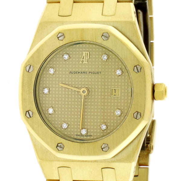 Audemars Piguet 31mm Royal Oak Mid-Size Gold Champagne Factory Diamond Dial Quartz Watch