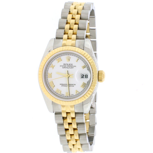 2005 Rolex Datejust Ladies 2-Tone 18K Yellow Gold/Steel 26MM Factory White Roman Dial Jubilee Watch 179173 Box Papers