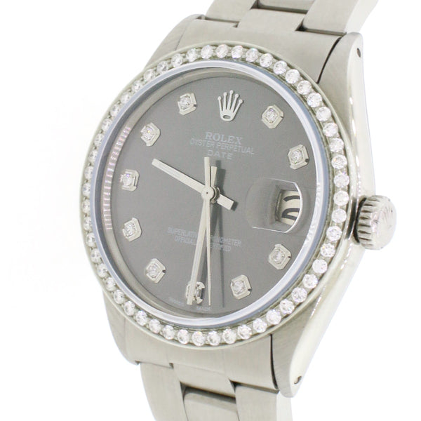 Rolex Oyster Perpetual Date 34mm Automatic Stainless Steel Watch w/Silvery Grey Diamond Dial & Bezel