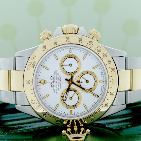 Rolex Cosmograph Daytona 2-Tone 18K Yellow Gold/Steel Original White Index Dial 40mm Automatic Oyster Watch 16523