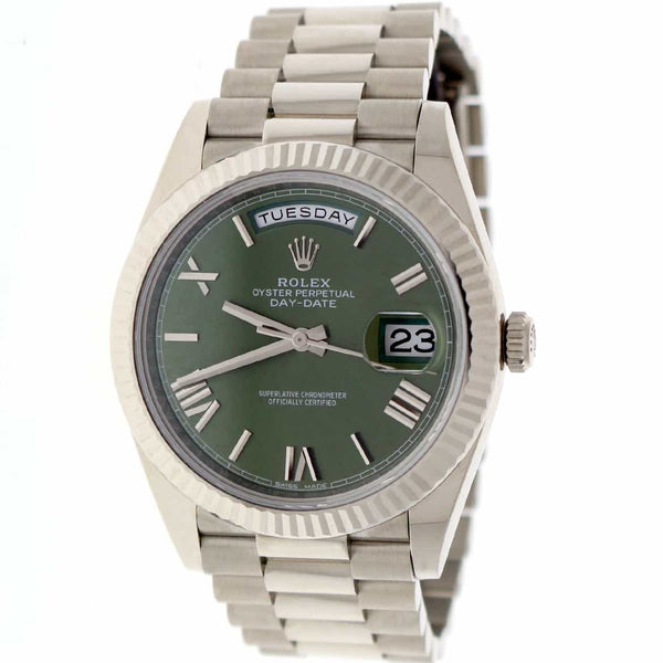 Rolex President Day-Date II 18K White Gold 40MM Original Olive Green Roman Dial Automatic Mens Watch 228239