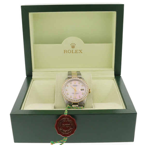 Rolex Oyster Perpetual Date 2-Tone 18K Gold/SS 34mm Automatic Oyster Watch w/Pink MOP Diamond Dial & 1.8CtBezel