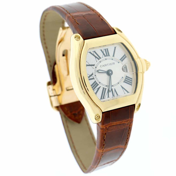 Cartier Roadster Small 18K Yellow Gold Silver Sunray Roman Dial 32MM Watch 2676