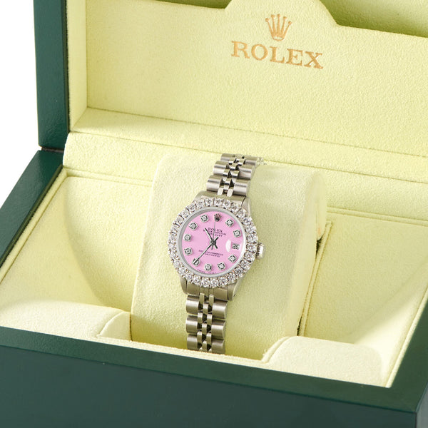 Rolex Datejust Steel 26mm Jubilee Watch 2CT Diamond Bezel / Pastel Pink Dial