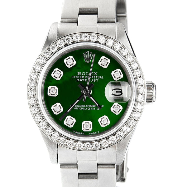Rolex Datejust Ladies Automatic Stainless Steel 26mm Oyster Watch w/Emerald Green MOP Dial & Diamond Bezel