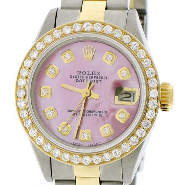 Rolex Datejust Ladies 2-Tone 18K Yellow Gold/Steel 26MM Oyster Watch w/Island Pink Diamond MOP Dial & Bezel