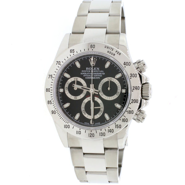 Rolex Cosmograph Daytona Black Dial 40MM Automatic Stainless Steel Mens Oyster Watch 116520
