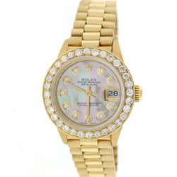 Rolex President Datejust Ladies 18K Yellow Gold 26MM Watch w/Tahitian MOP Diamond Dial & Bezel