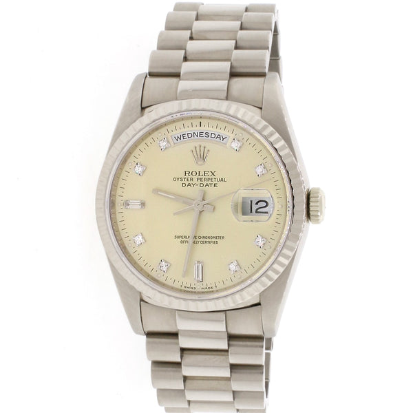 Rolex President Day-Date 18K White Gold Factory Diamond Dial 36MM Double-Quick Automatic Mens Watch 18239