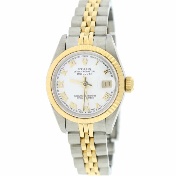 Rolex Datejust Ladies 2-Tone Yellow Gold/Steel Original White Roman Dial 26MM Jubilee Watch 69173