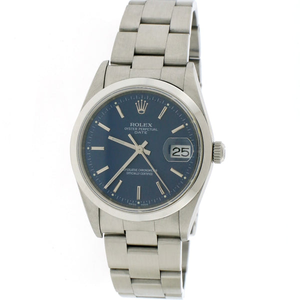 Rolex Oyster Perpetual Date 34mm Blue Stick Dial Automatic Stainless Steel Oyster Watch 15200