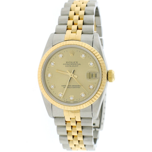 Rolex Datejust Midsize 2-Tone 18K Yellow Gold/Stainless Steel Factory Champagne Diamond Dial 31mm Womens Jubilee Watch 68273