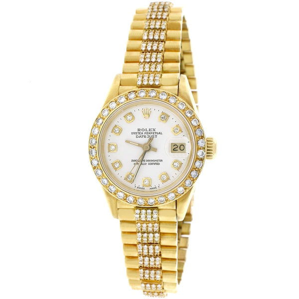 Rolex President Datejust Ladies 18K Yellow Gold 26MM Watch w/Diamond Dial, Bezel, & Bracelet