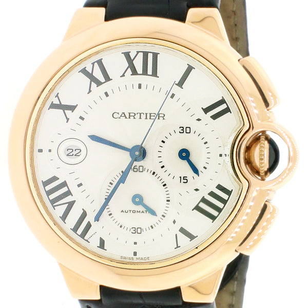 CARTIER BALLON BLEU CHRONOGRAPH 18KT ROSE GOLD LEATHER STRAP W6920074 Box Papers