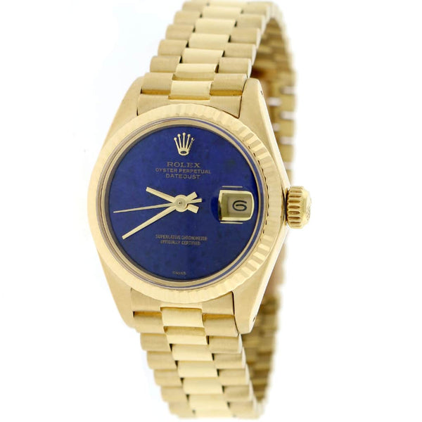 Rolex President Datejust Ladies Yellow Gold 26MM Blue Lapis Dial Watch