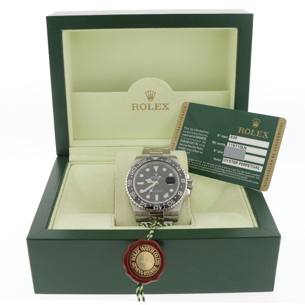 Rolex GMT-Master II Black Ceramic Bezel 40MM Automatic Stainless Steel Mens Oyster Watch 116710