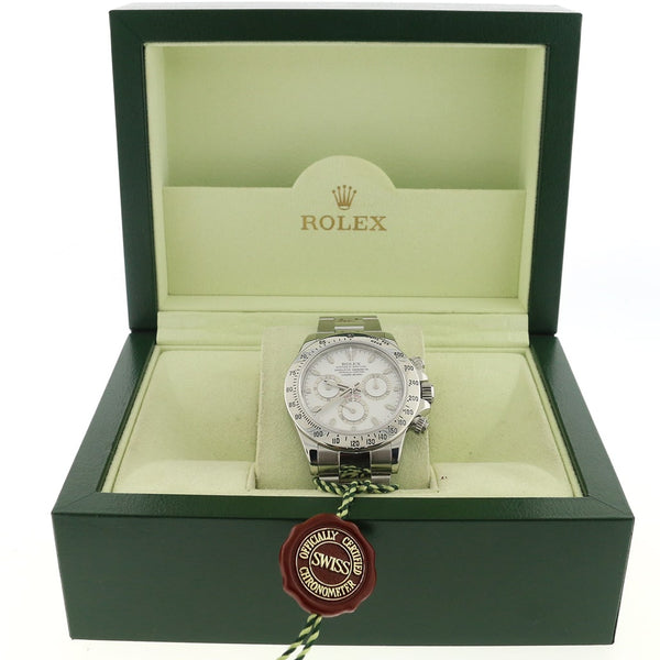 Rolex Cosmograph Daytona White Dial 40MM Automatic Stainless Steel Mens Oyster Watch 116520