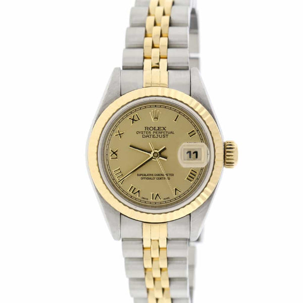 Rolex Datejust Ladies 2-Tone 18K Yellow Gold/Steel 26MM Original Champagne Roman Dial Jubilee Watch 79173