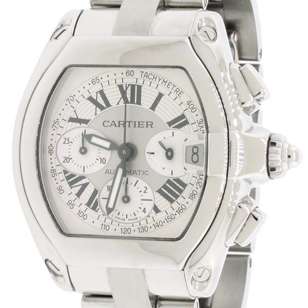 Cartier Roadster Chrono XL Factory Silver Roman Dial 43MM Automatic Stainless Steel Mens Watch W62019X6