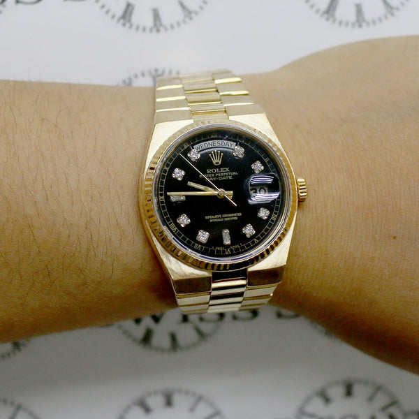 Rolex President Day-Date Oysterquartz 18K Yellow Gold 36MM Mens Watch 19018 w/Black Diamond Dial
