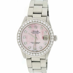 Rolex Datejust Midsize Stainless Steel 31mm Womens Oyster Watch w/Pink MOP Diamond Dial & 1.52Ct Bezel