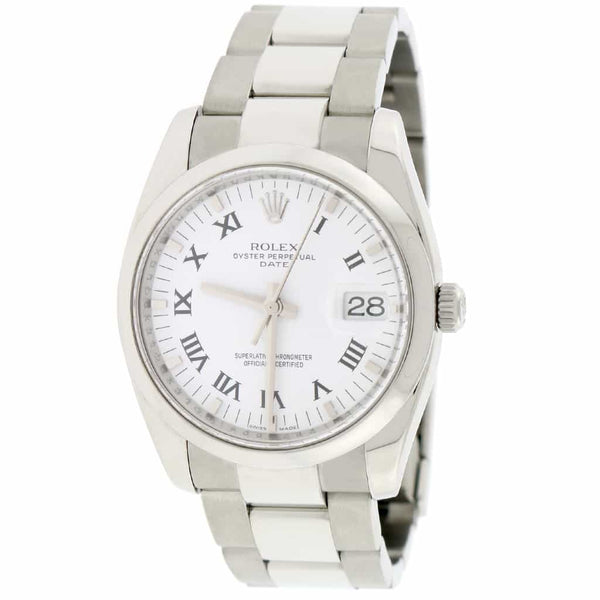 Rolex Oyster Perpetual Date 34mm White Roman Dial Automatic Stainless Steel Oyster Watch 115200