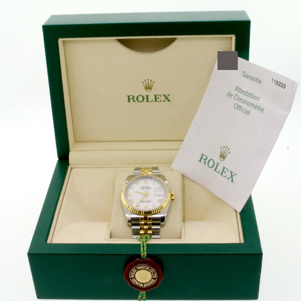 Rolex Datejust 2-Tone Yellow Gold/Stainless Steel Original White Roman Dial 36MM Jubilee Watch 116233 w/ Box Papers