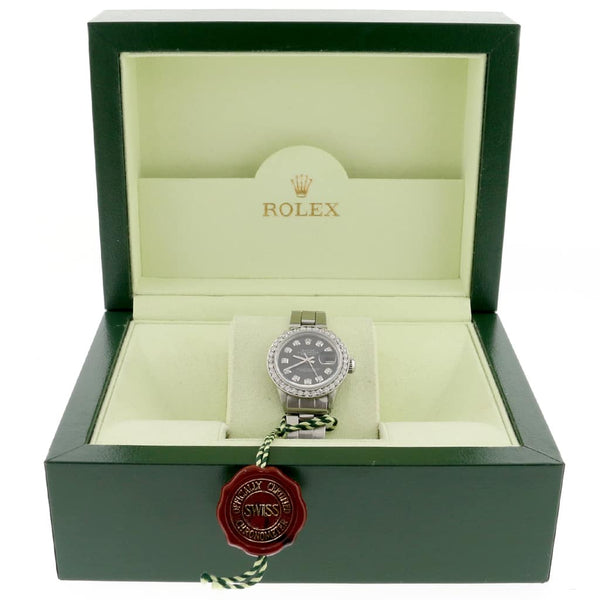 Rolex Datejust Ladies Automatic Stainless Steel 26mm Oyster Watch with Diamond Dial & Bezel