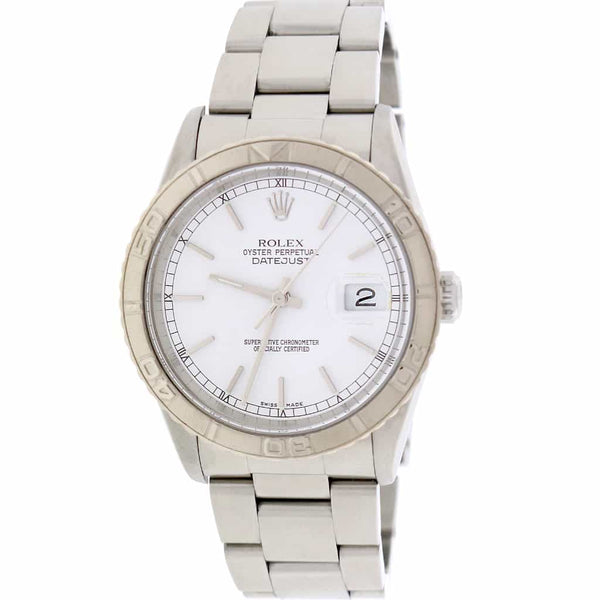 Rolex Datejust Turnograph Thunderbird 36MM White Dial Automatic Stainless Steel Mens Watch 16264