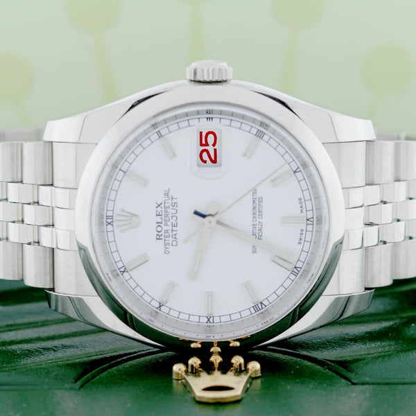 Rolex Datejust Original White Stick Dial 36MM Smooth Domed Bezel Jubilee Stainless Steel Mens Watch 116200