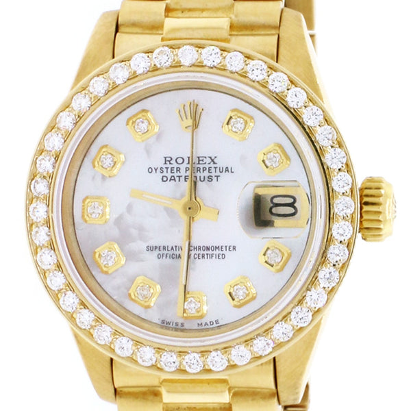 Rolex President Datejust Ladies 18K Yellow Gold 26MM Automatic Watch w/White MOP Diamond Dial & Bezel