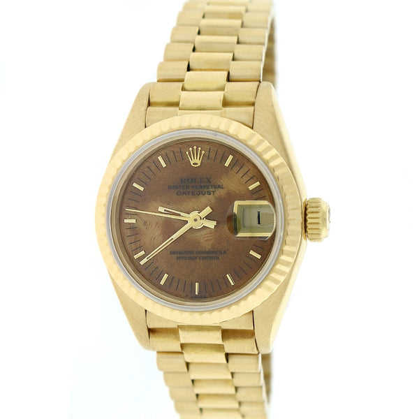 Rolex President Datejust Ladies 18K Yellow Gold 26MM Original Wooden Dial Automatic Watch 69178